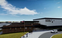 """Visualizing the future. Clouds, pedestrians and other ornamentation supplement an artist rendering of Northwest Elementary, which is expected to be completed in August of 2022. This past fall, BPS broke ground at the school's construction site, which is located next to Tyler Parkway. """"I know you guys [the architects] are all creative and you're doing your best work, but anyway we can do it, we want to do it right. There's no question about that,"""" Board President Karl Lembke said."""